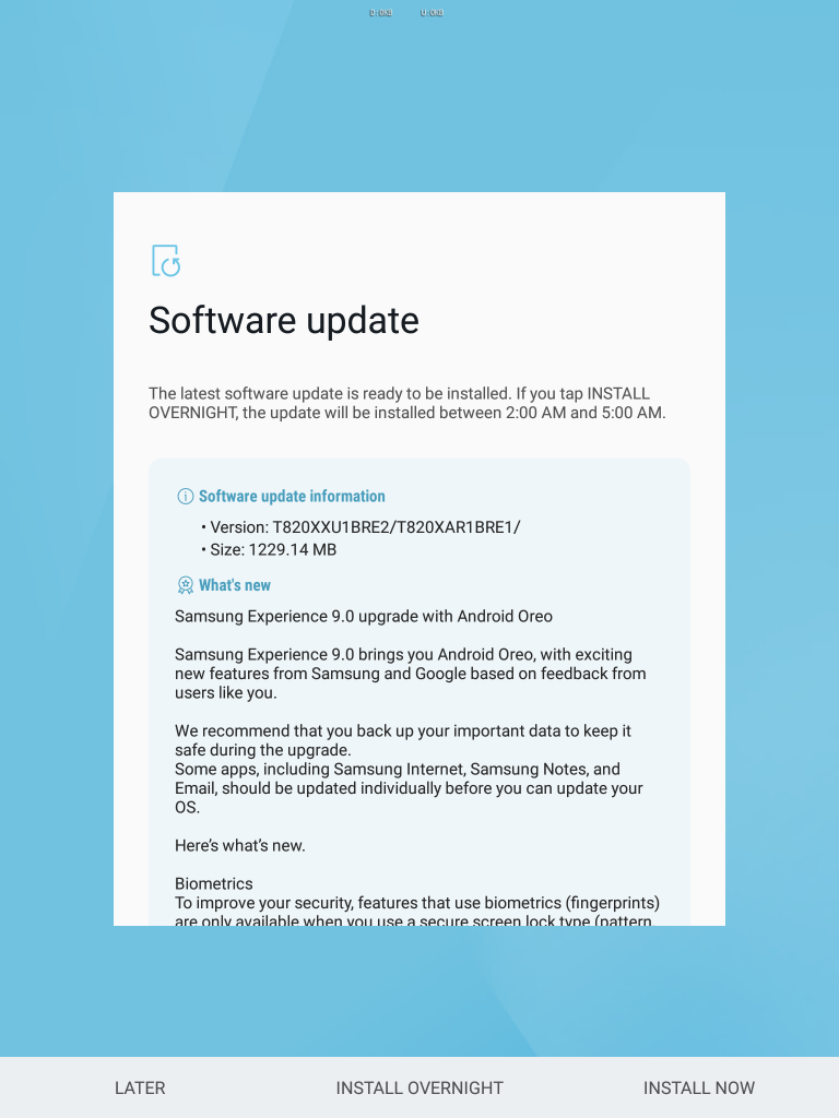 Samsung Galaxy Tab S3 starts getting Android 8.0 Oreo in US