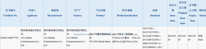 Vivi NEX S certified by 3C