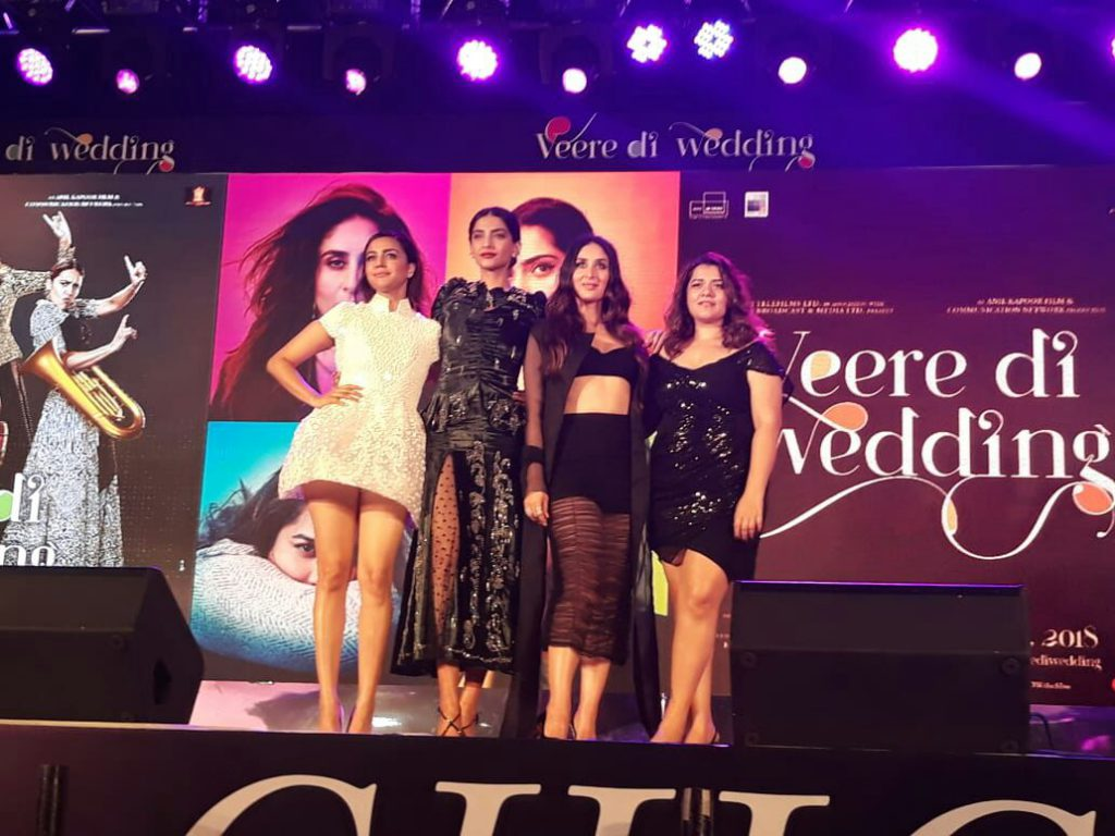 All four divas of 'Veerey Di Wedding' at the music launch event.