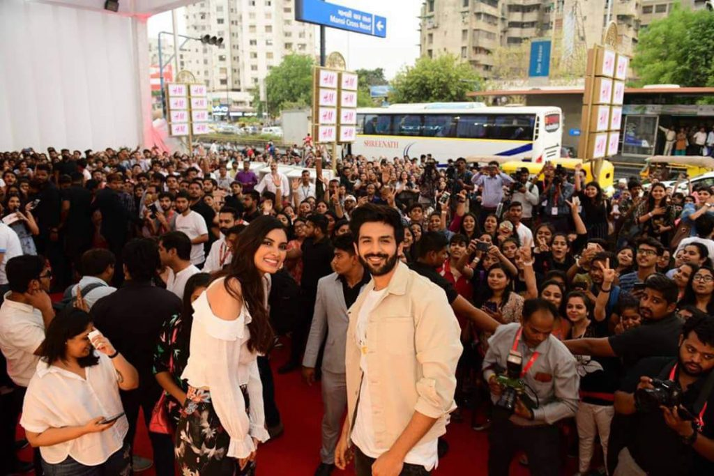 Kartik Aaryan and Daina Penty at the launch of H&M store in Ahmedabad today