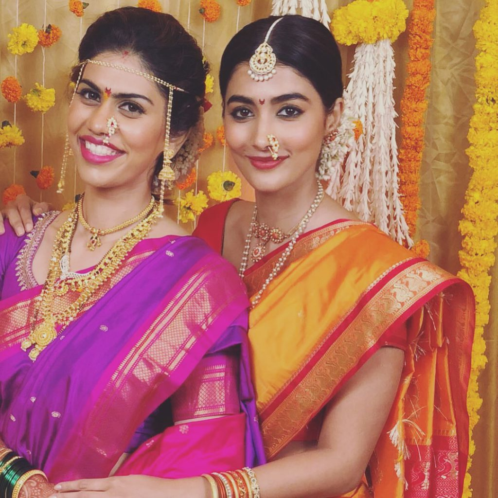 Pooja Hegde in Nauvari at friend's wedding