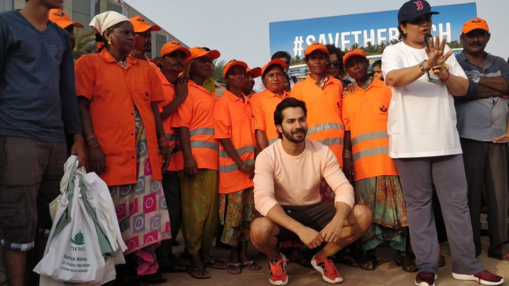 Varun Dhawan at the beach clean-up drive in Juhu on the occasion of World Environment Day.