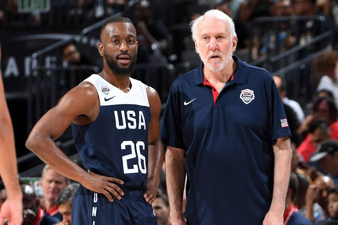 Kemba Walker with team USA coach Gregg Popovich