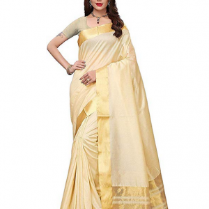 Beige Color Art Silk Plain Saree RM ENTERPRISE Women's With Blouse Piece