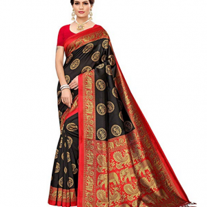 Black Banarasi Silk Saree by Winza Designer With Blouse