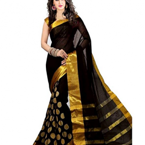 Black Cotton Silk Saree with Blouse Piece