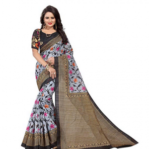 Black cotton saree by J B Fashion Cotton with Blouse Piece