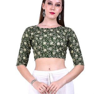 Fressia Fabrics Pure Cotton Kalamkari Print Readymade Saree Blouse For Women