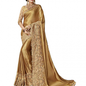 Golden Saree Magneitta Women's Fancy Embroidered Saree Sari with Blouse Piece