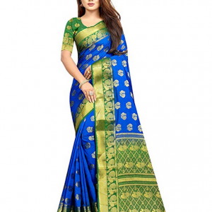 Kanjivaram Style Blue Green Art Silk Saree Firstrack Enterprise Women's Traditional With Blouse Piece