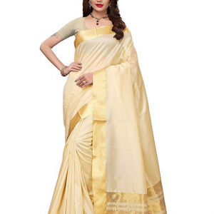 Maxis Women's Kerala Cotton Silk Blended Saree (Cream)