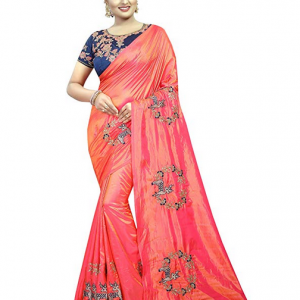 Peach Color Kalapy Fashion Women's Paper Silk Embroidery Work saree