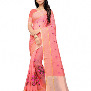 Peach Color Leeza Store Women's Super Net Weaving Embroidery Butti Work Saree With Blouse Piece