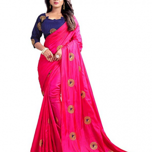 Pink Kuvarba Fashion Women's Silk Embroidered Saree With Blouse Piece