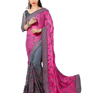 Pink Nivah Fashion Satin & Net Embroidery Half & Half Saree with Blouse Piece