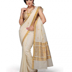 Rsv fabrics Women's Kerala Kasavu Cotton Saree with Running Blouse (White)