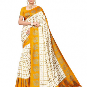 Yellow and off White Pisara Women Mysore Silk Printed Saree